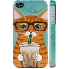 Чехол на iPhone 4 Зеленоглазый кот в очках (4054c-15)