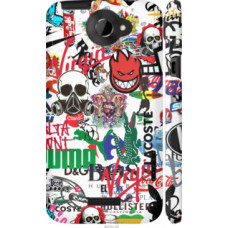 Чехол на HTC One X+ Many different logos (4022c-69)