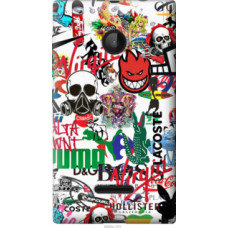 Чехол на Microsoft Lumia 532 Dual Sim Many different logos (4022u-151)