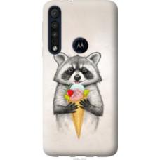 Чехол на Motorola One Macro Енотик с мороженым (4602u-1812)