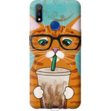 Чехол на Realme 3 Pro Зеленоглазый кот в очках (4054u-1863)