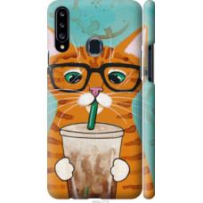 Чехол на Samsung Galaxy A20s A207F Зеленоглазый кот в очках (4054c-1775)