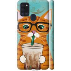 Чехол на Samsung Galaxy A21s A217F Зеленоглазый кот в очках (4054c-1943)