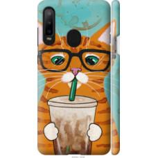 Чехол на Samsung Galaxy A8S Зеленоглазый кот в очках (4054c-1636)