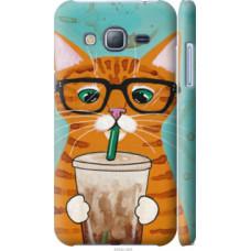 Чехол на Samsung Galaxy J3 Duos (2016) J320H Зеленоглазый кот в очках (4054c-265)