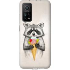 Чехол на Xiaomi Mi 10T Енотик с мороженым (4602c-2096)