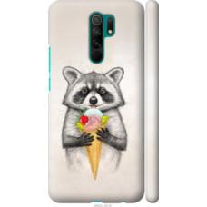 Чехол на Xiaomi Redmi 9 Енотик с мороженым (4602c-2019)